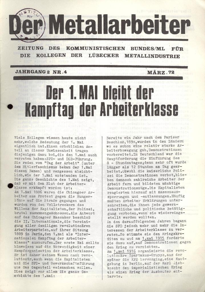 Der Metallarbeiter _ Zeitung des KB/ML, Jg. 2, Nr. 4, März 1972, Seite 1