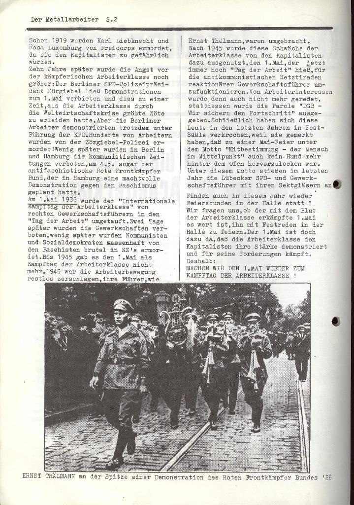 Der Metallarbeiter _ Zeitung des KB/ML, Jg. 2, Nr. 4, März 1972, Seite 2