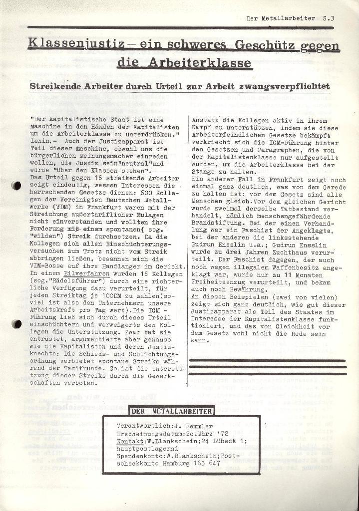Der Metallarbeiter _ Zeitung des KB/ML, Jg. 2, Nr. 4, März 1972, Seite 3