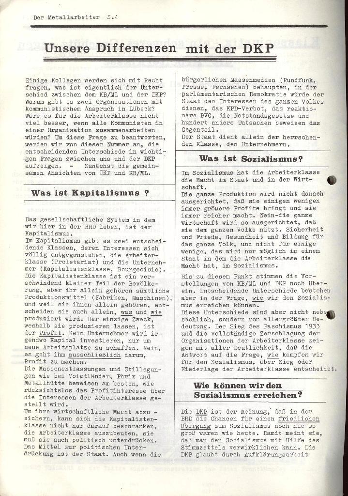 Der Metallarbeiter _ Zeitung des KB/ML, Jg. 2, Nr. 4, März 1972, Seite 4