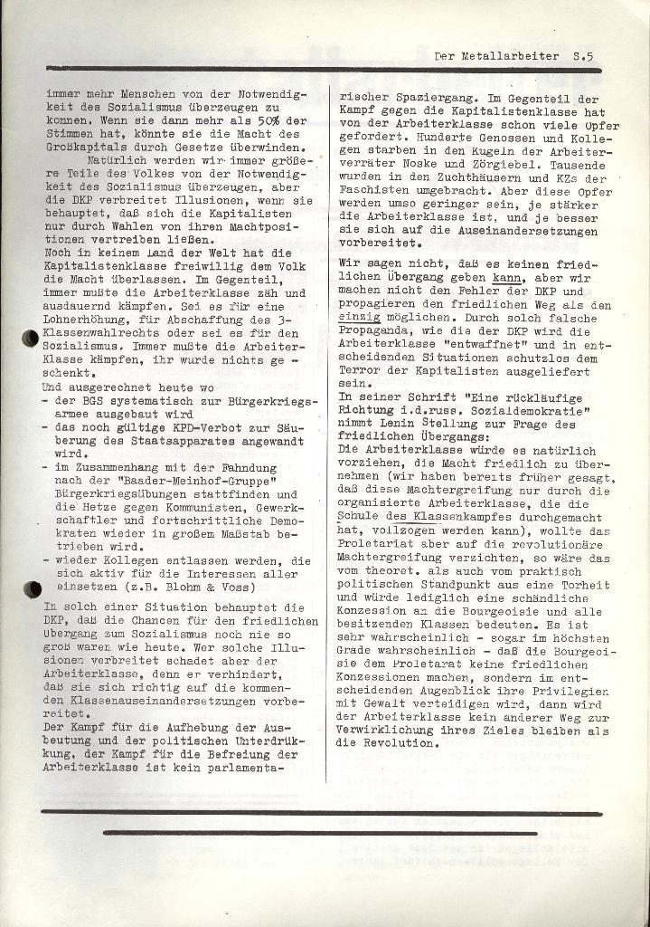 Der Metallarbeiter _ Zeitung des KB/ML, Jg. 2, Nr. 4, März 1972, Seite 5