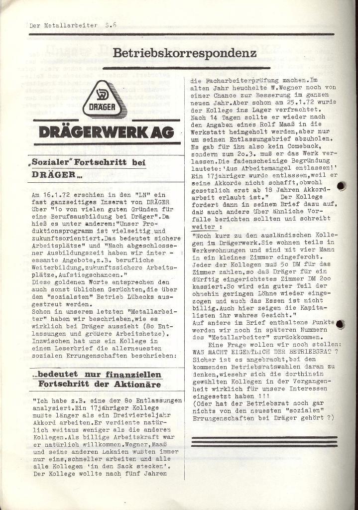 Der Metallarbeiter _ Zeitung des KB/ML, Jg. 2, Nr. 4, März 1972, Seite 6