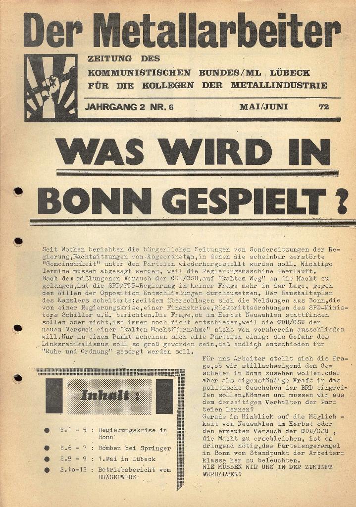 Der Metallarbeiter _ Zeitung des KB/ML, Jg. 2, Nr. 6, Mai/Juni 1972, Seite 1