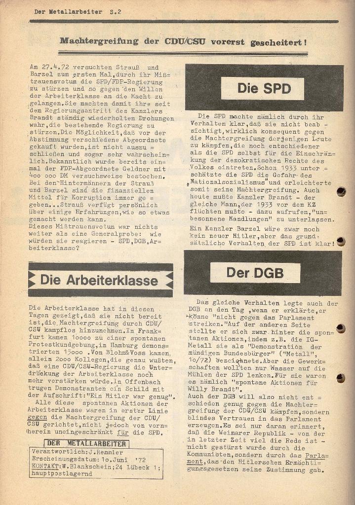 Der Metallarbeiter _ Zeitung des KB/ML, Jg. 2, Nr. 6, Mai/Juni 1972, Seite 2