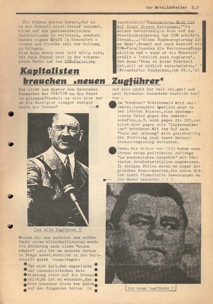 Der Metallarbeiter _ Zeitung des KB/ML, Jg. 2, Nr. 6, Mai/Juni 1972, Seite 3
