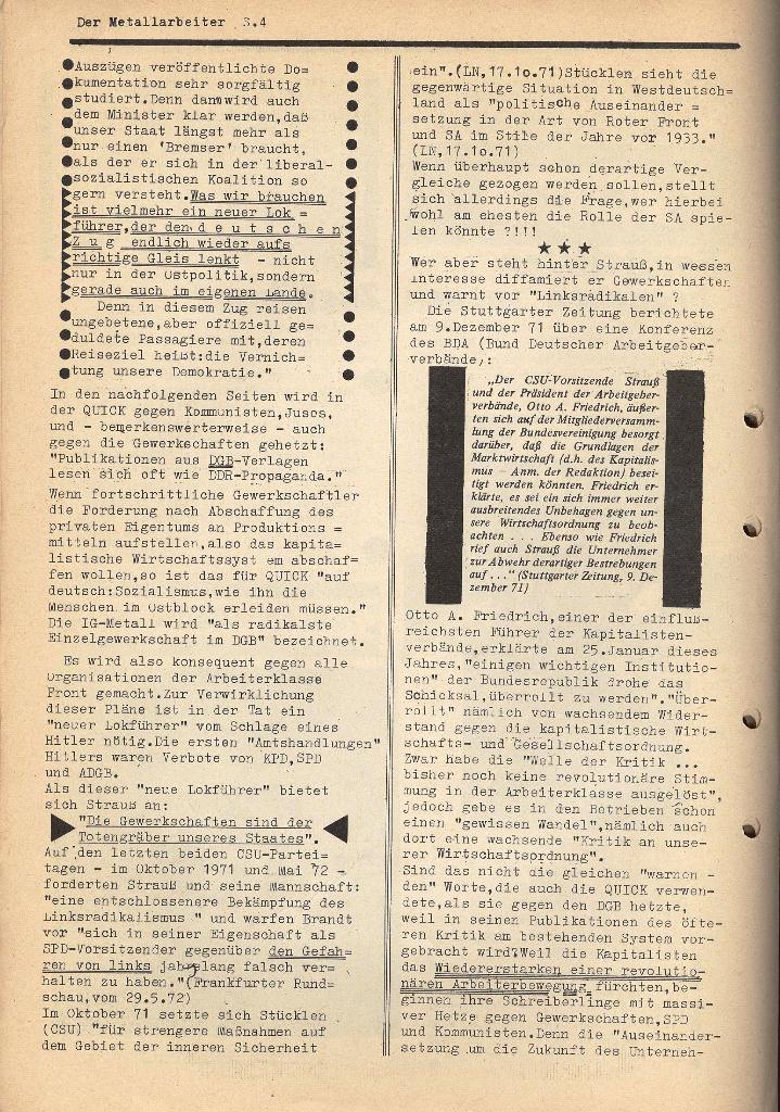 Der Metallarbeiter _ Zeitung des KB/ML, Jg. 2, Nr. 6, Mai/Juni 1972, Seite 4