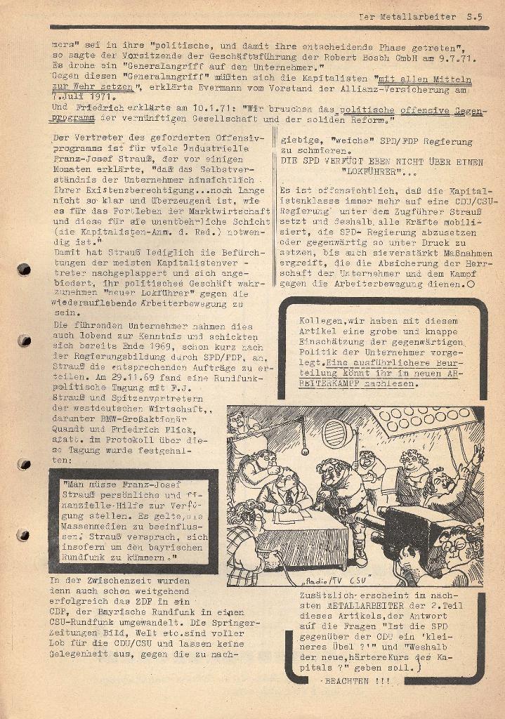 Der Metallarbeiter _ Zeitung des KB/ML, Jg. 2, Nr. 6, Mai/Juni 1972, Seite 5