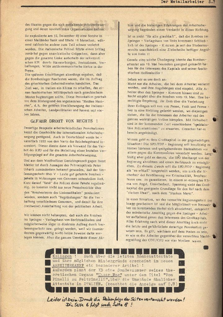 Der Metallarbeiter _ Zeitung des KB/ML, Jg. 2, Nr. 6, Mai/Juni 1972, Seite 7