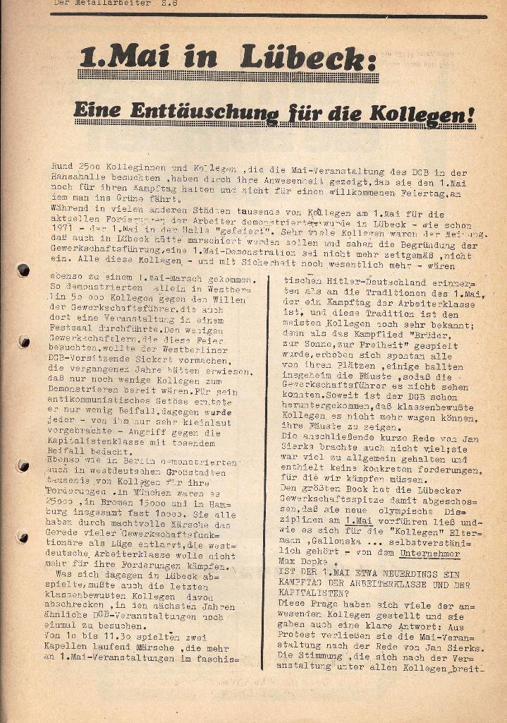 Der Metallarbeiter _ Zeitung des KB/ML, Jg. 2, Nr. 6, Mai/Juni 1972, Seite 8