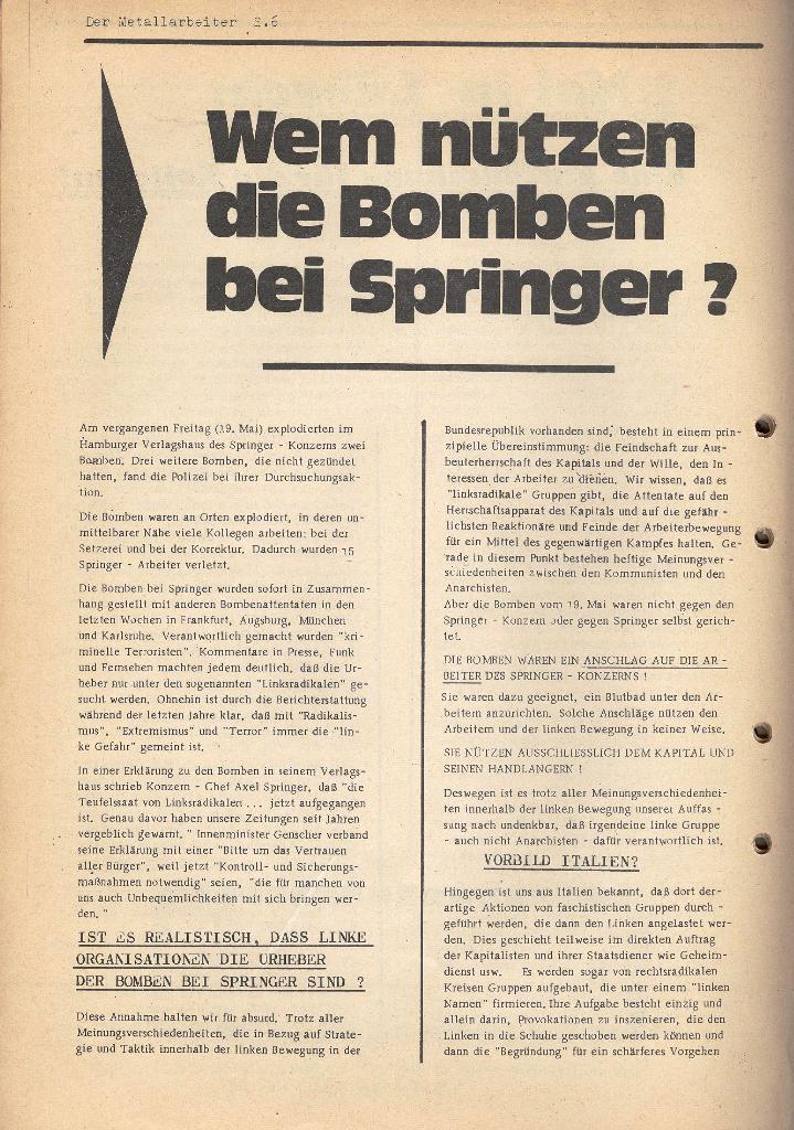 Der Metallarbeiter _ Zeitung des KB/ML, Jg. 2, Nr. 6, Mai/Juni 1972, Seite 6