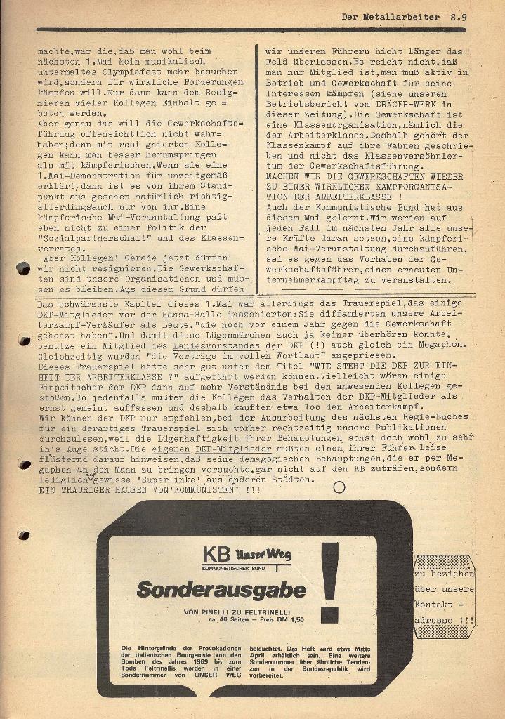 Der Metallarbeiter _ Zeitung des KB/ML, Jg. 2, Nr. 6, Mai/Juni 1972, Seite 9