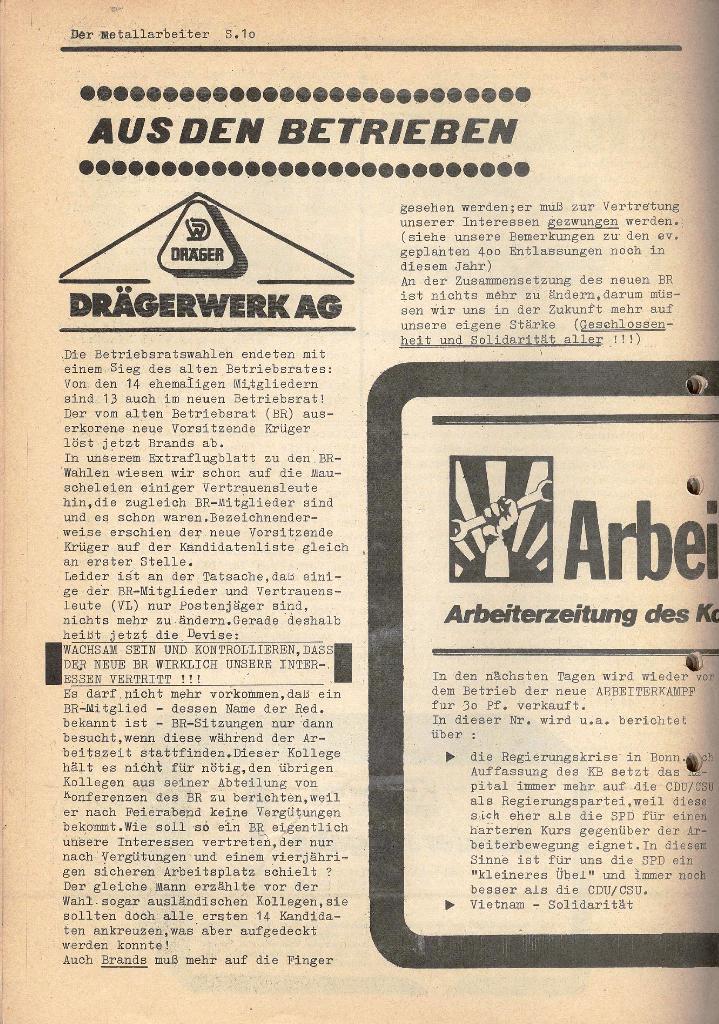Der Metallarbeiter _ Zeitung des KB/ML, Jg. 2, Nr. 6, Mai/Juni 1972, Seite 10