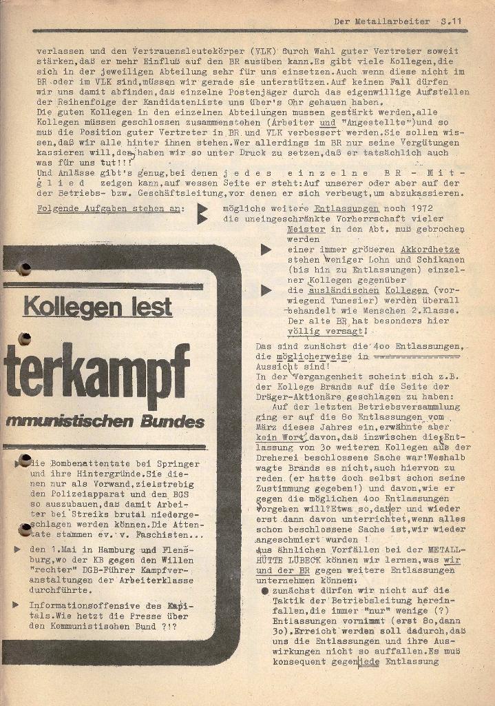 Der Metallarbeiter _ Zeitung des KB/ML, Jg. 2, Nr. 6, Mai/Juni 1972, Seite 11