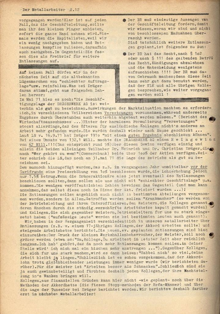 Der Metallarbeiter _ Zeitung des KB/ML, Jg. 2, Nr. 6, Mai/Juni 1972, Seite 12