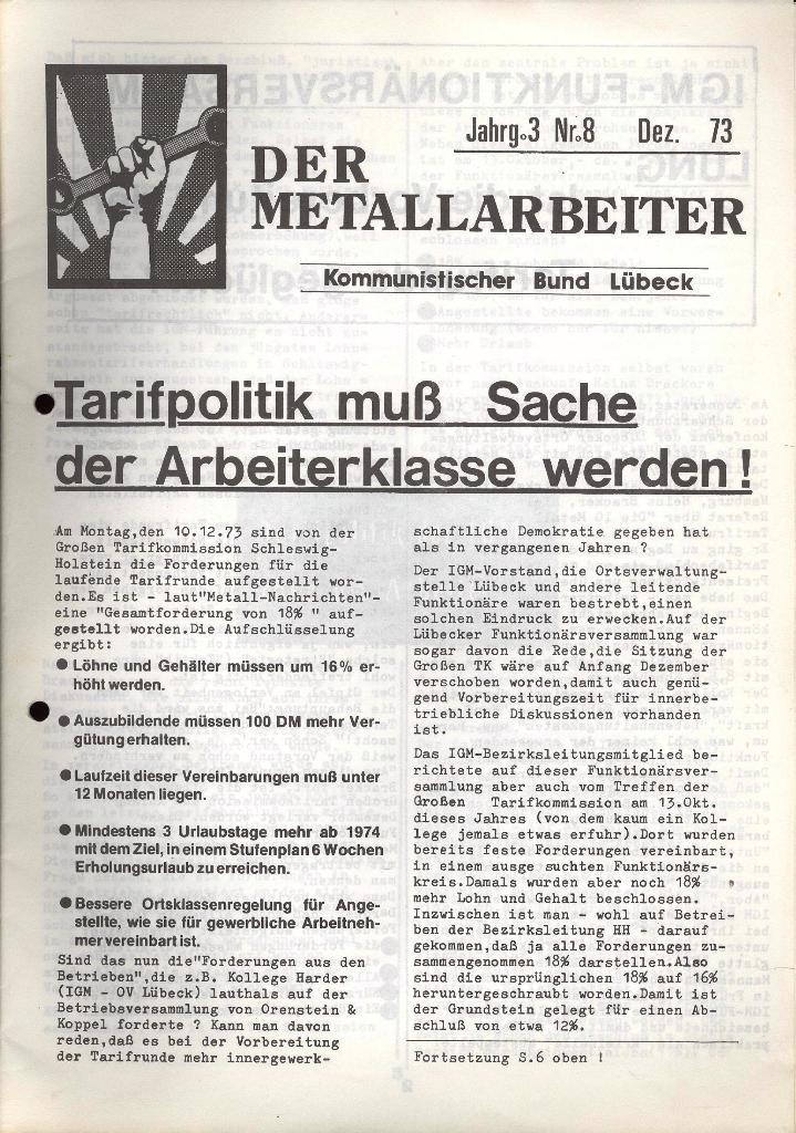 Der Metallarbeiter _ Zeitung des KB/ML, Jg. 3, Nr. 8, Dezember 1973, Seite 1