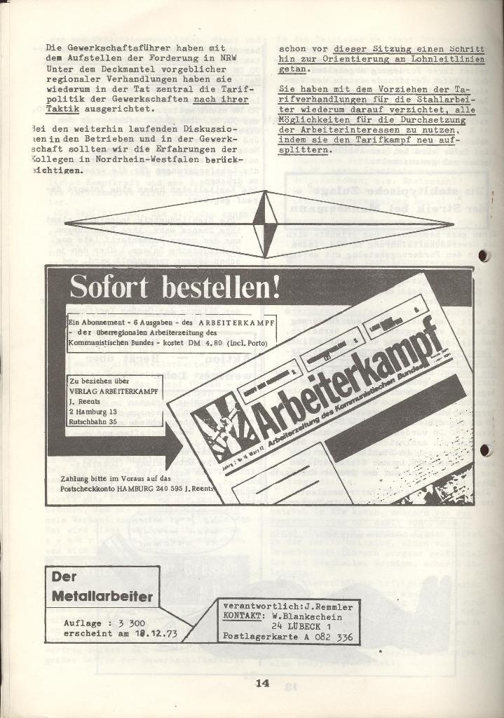 Der Metallarbeiter _ Zeitung des KB/ML, Jg. 3, Nr. 8, Dezember 1973, Seite 14