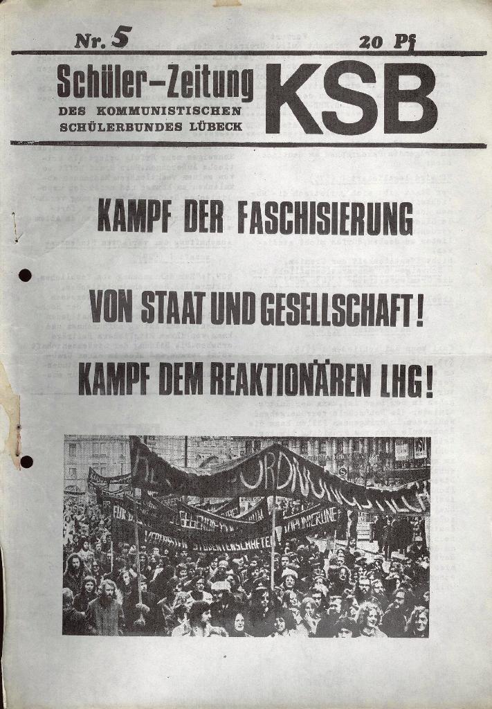 Schüler_Zeitung des KSB Lübeck, Nr. 5 (1973), Seite 1