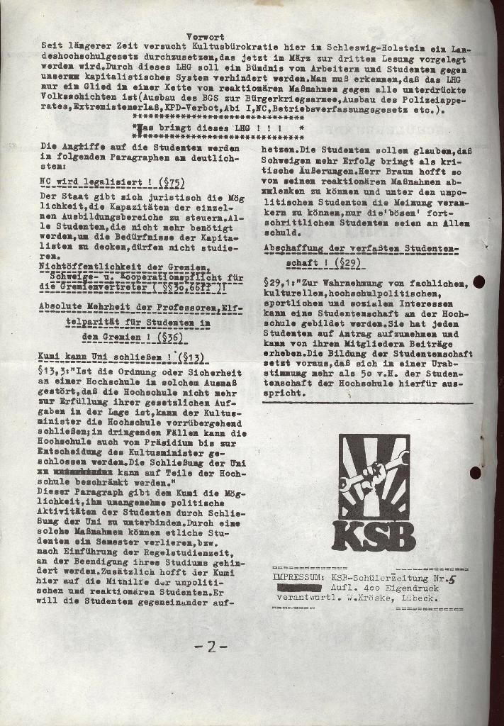 Schüler_Zeitung des KSB Lübeck, Nr. 5 (1973), Seite 2