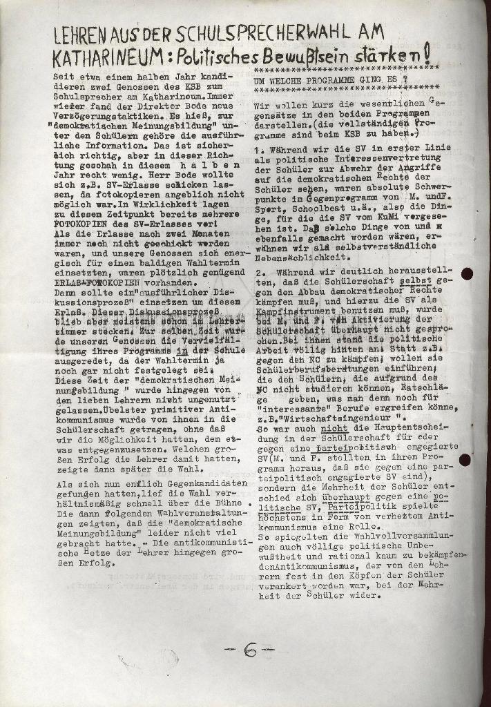 Schüler_Zeitung des KSB Lübeck, Nr. 5 (1973), Seite 6