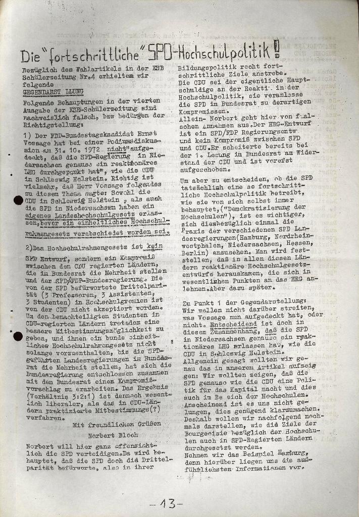 Schüler_Zeitung des KSB Lübeck, Nr. 5 (1973), Seite 13