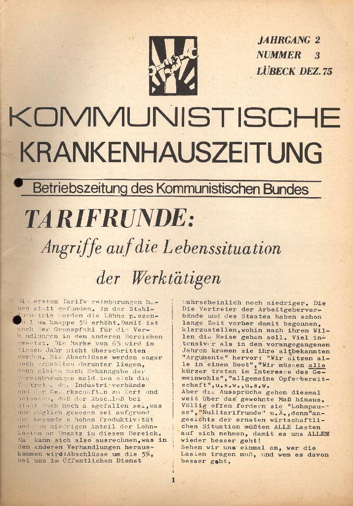 Kommunistische Krankenhauszeitung _ Betriebszeitung des KB, Jg. 2, Nr. 3, Lübeck, Dez. 1975, Seite 1