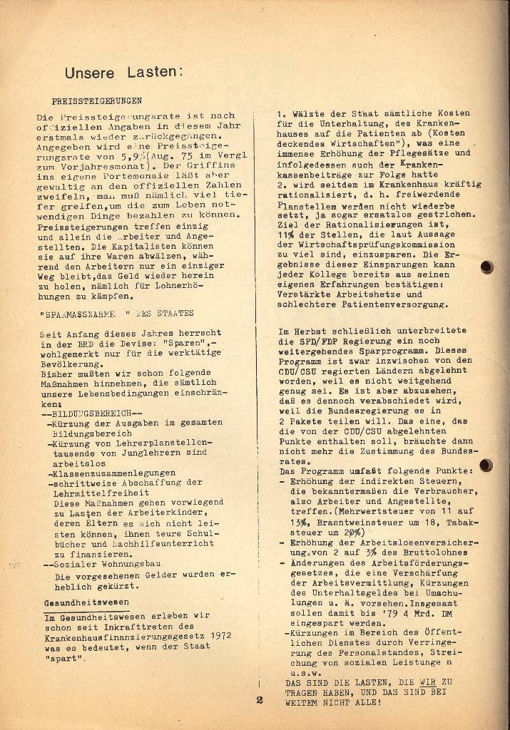 Kommunistische Krankenhauszeitung _ Betriebszeitung des KB, Jg. 2, Nr. 3, Lübeck, Dez. 1975, Seite 2