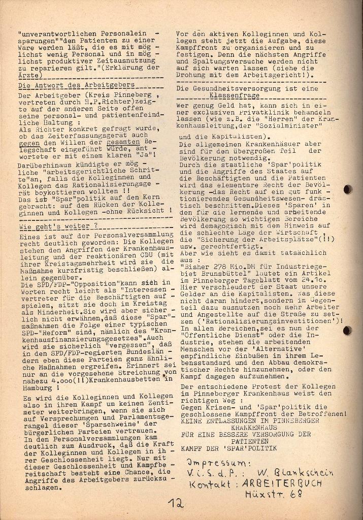 Kommunistische Krankenhauszeitung _ Betriebszeitung des KB, Jg. 2, Nr. 3, Lübeck, Dez. 1975, Seite 12
