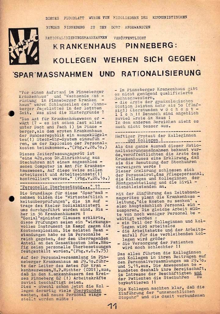 Kommunistische Krankenhauszeitung _ Betriebszeitung des KB, Jg. 2, Nr. 3, Lübeck, Dez. 1975, Seite 11