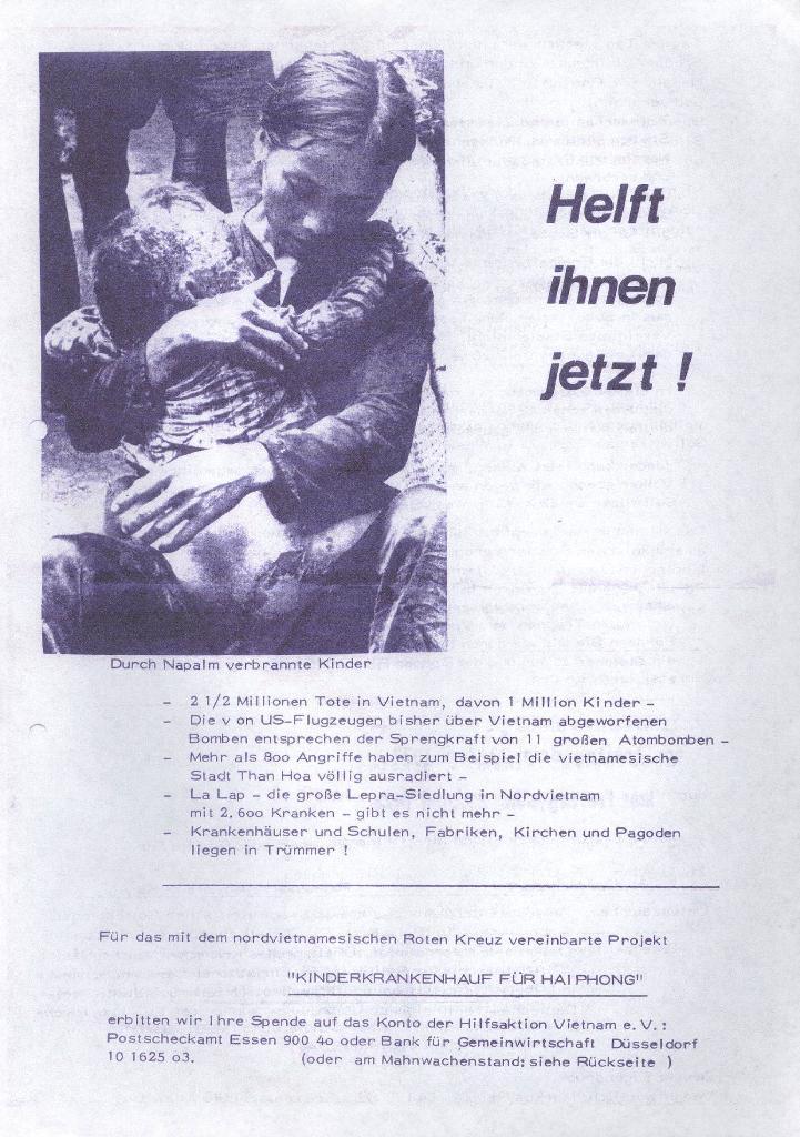 Flugblatt: Helft ihnen jetzt!, 1972, Seite 1