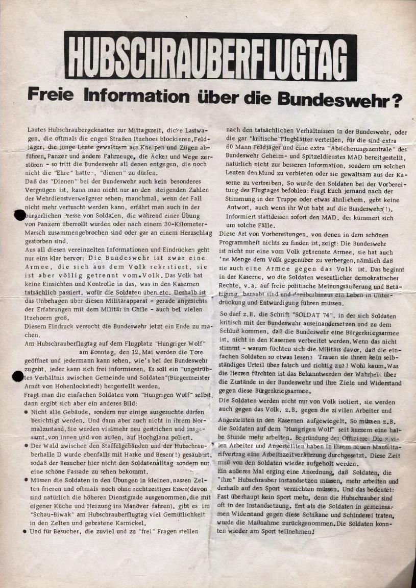 Hubschrauberflugtag _ Flugblatt der  Sympathisantengruppe Itzehoe des KBW, 11.5.1974 (Vorderseite)