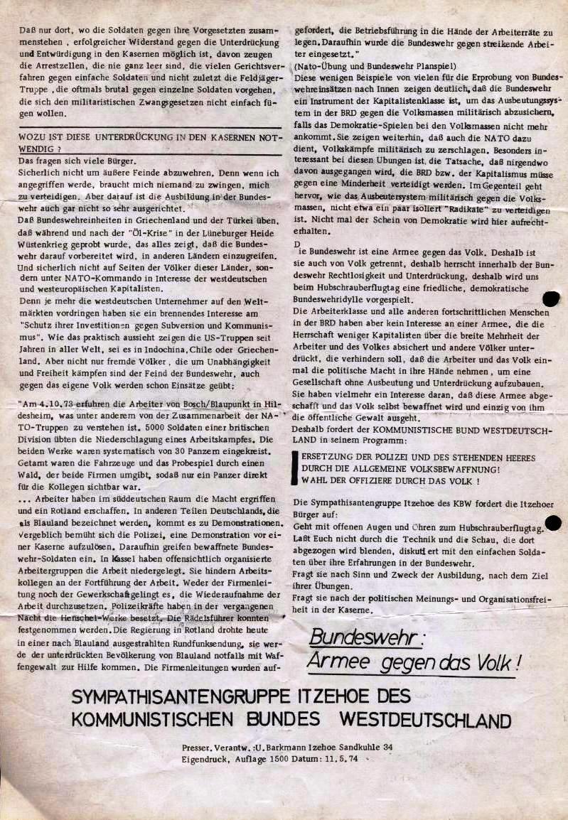 Hubschrauberflugtag _ Flugblatt der  Sympathisantengruppe Itzehoe des KBW, 11.5.1974 (Rückseite)
