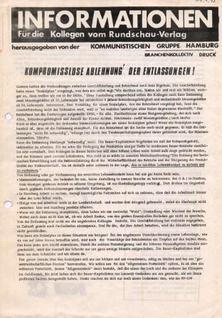 Informationen. Für die Kollegen vom Rundschau_Verlag. Herausgegeben von der Kommunistischen Gruppe Hamburg, Branchenkollektiv Druck [1973]