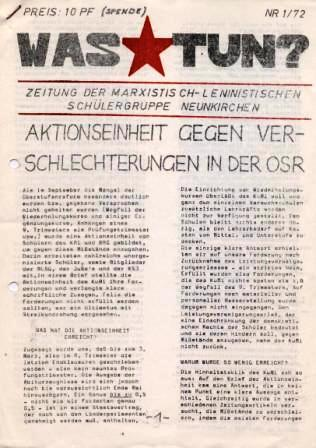 Was tun? Zeitung der Marxistisch_leninistischen Schülergruppe Neunkirchen, Nr. 1/72