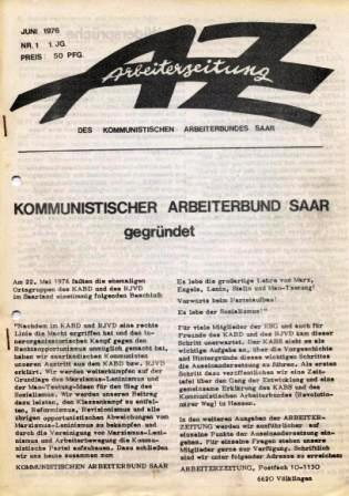 AZ _ Arbeiterzeitung des Kommunistischen Arbeiterbundes Saar, Jg. 1, Nr 1, Juni 1976