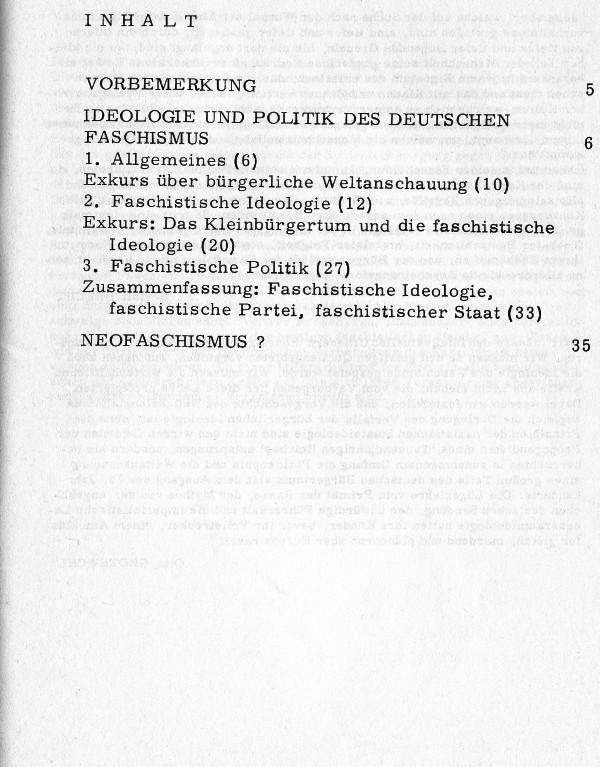 Inhaltsverzeichnis von Merker/Scheck: Deutscher Faschismus, westdeutscher Neofaschismus? (1975)