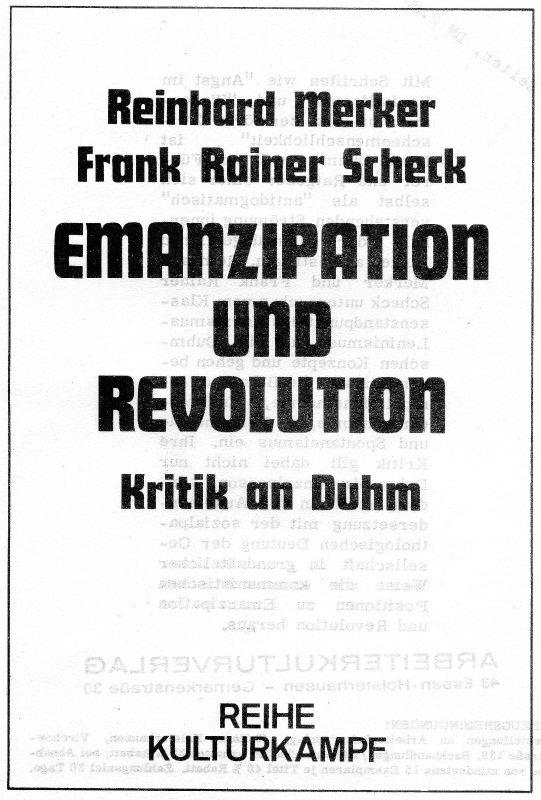 Titelseite von Merker/Scheck: Emanzipation und Revolution: Kritik an Duhm (1974)