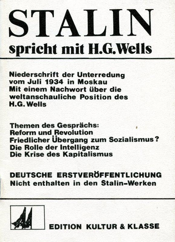 Titelseite der Broschüre: Stalin spricht mit. H. G. Wells (1976)