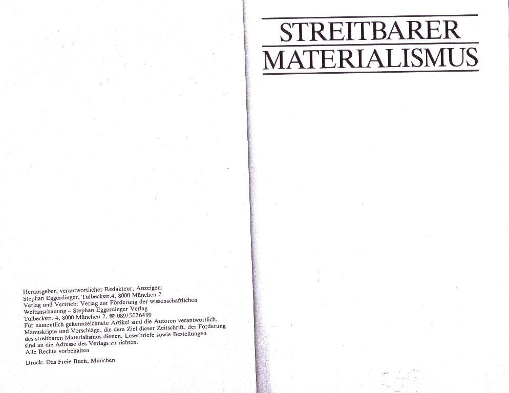 Streitbarer Materialismus, Nr. 10, S. 2f.