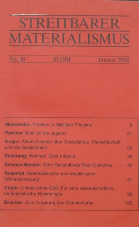 Streitbarer Materialismus, Nr. 10, Umschlagseite