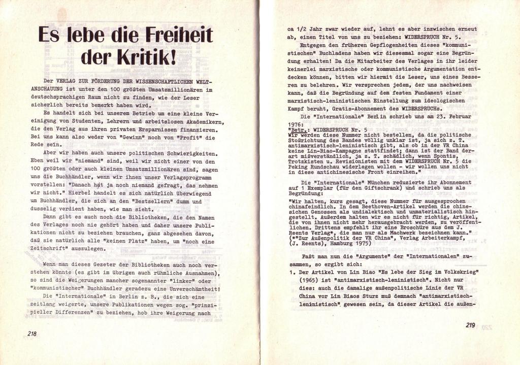 Der Widerspruch, Nr. 6, S. 218f.