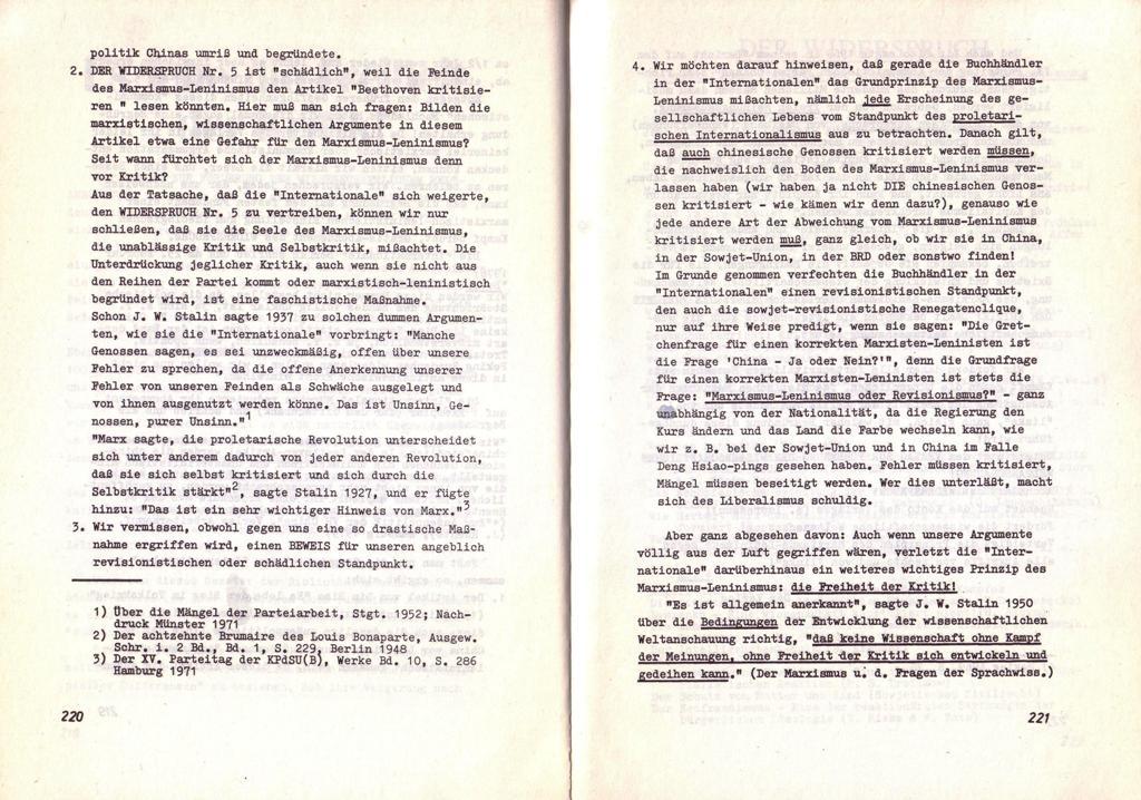 Der Widerspruch, Nr. 6, S. 220f.