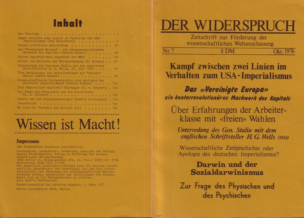 Der Widerspruch, Nr. 7, Umschlag