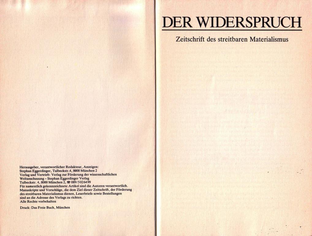 Der Widerspruch, Nr. 8, S. 2f.