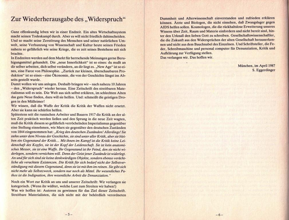 Der Widerspruch, Nr. 8, S. 5 und 6 [Montage]