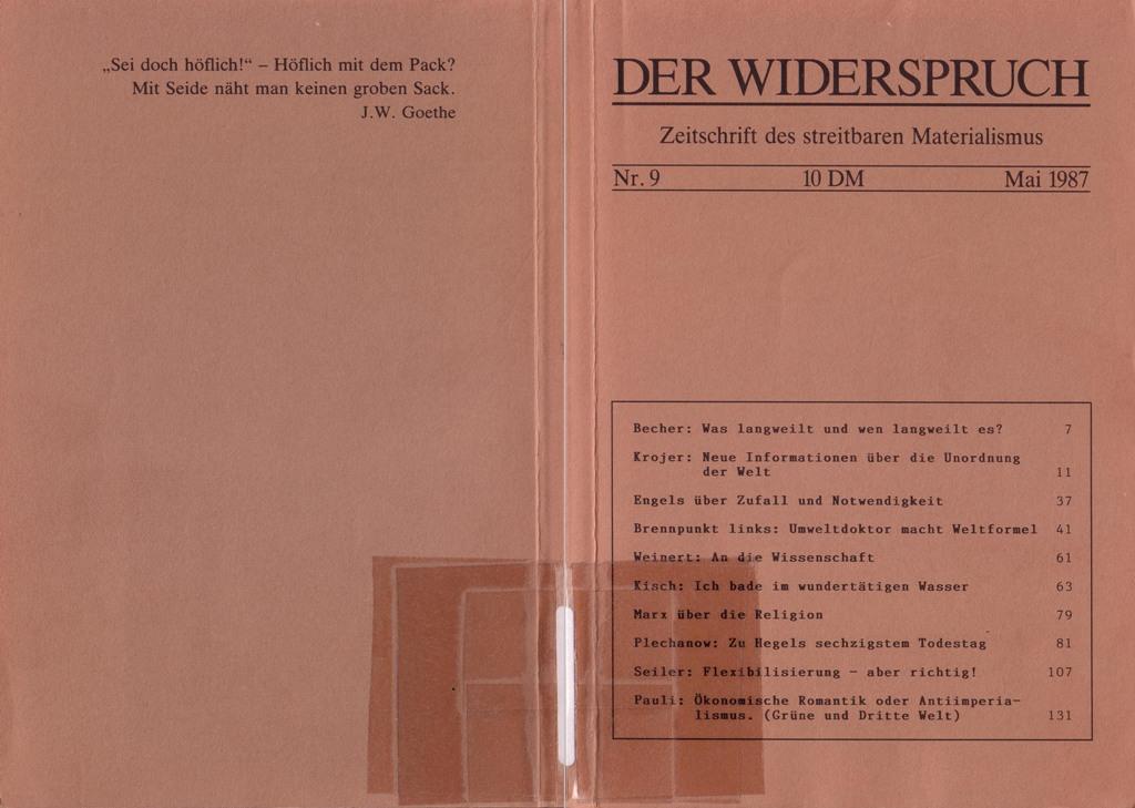 Der Widerspruch, Nr. 9, Umschlagseite