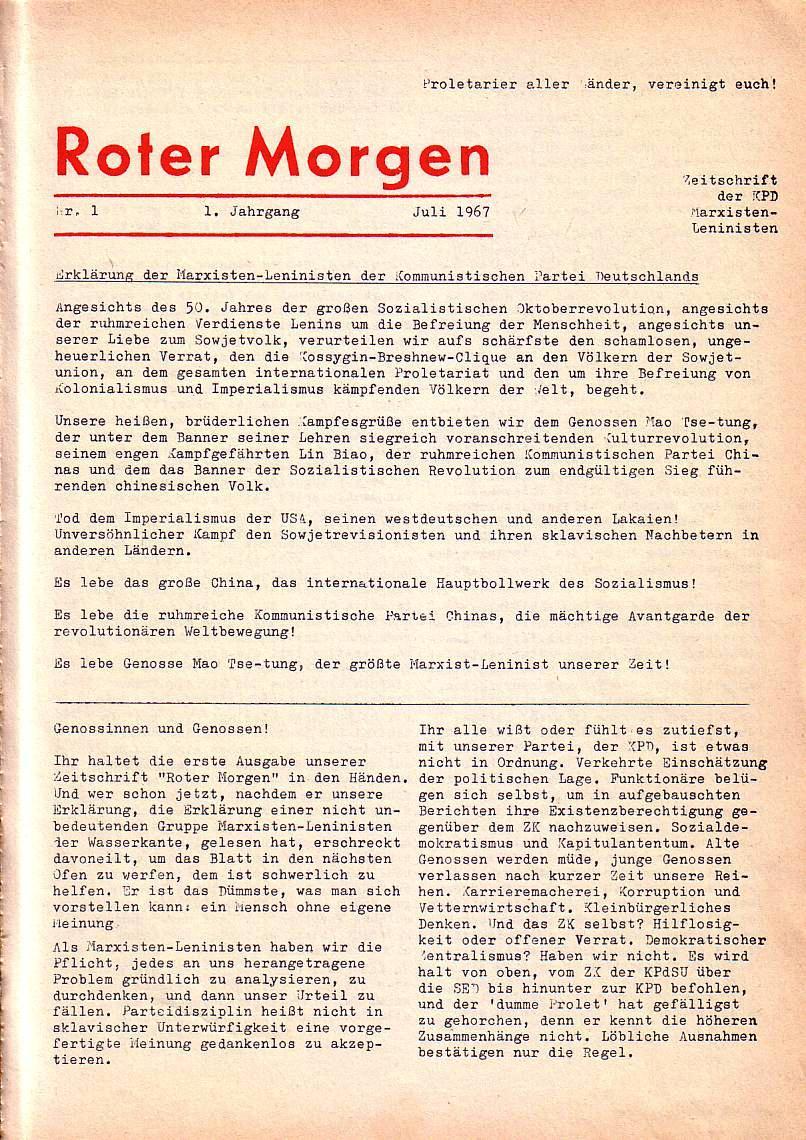 Roter Morgen, 1. Jg., Nr. 1, Juli 1967, Seite 1