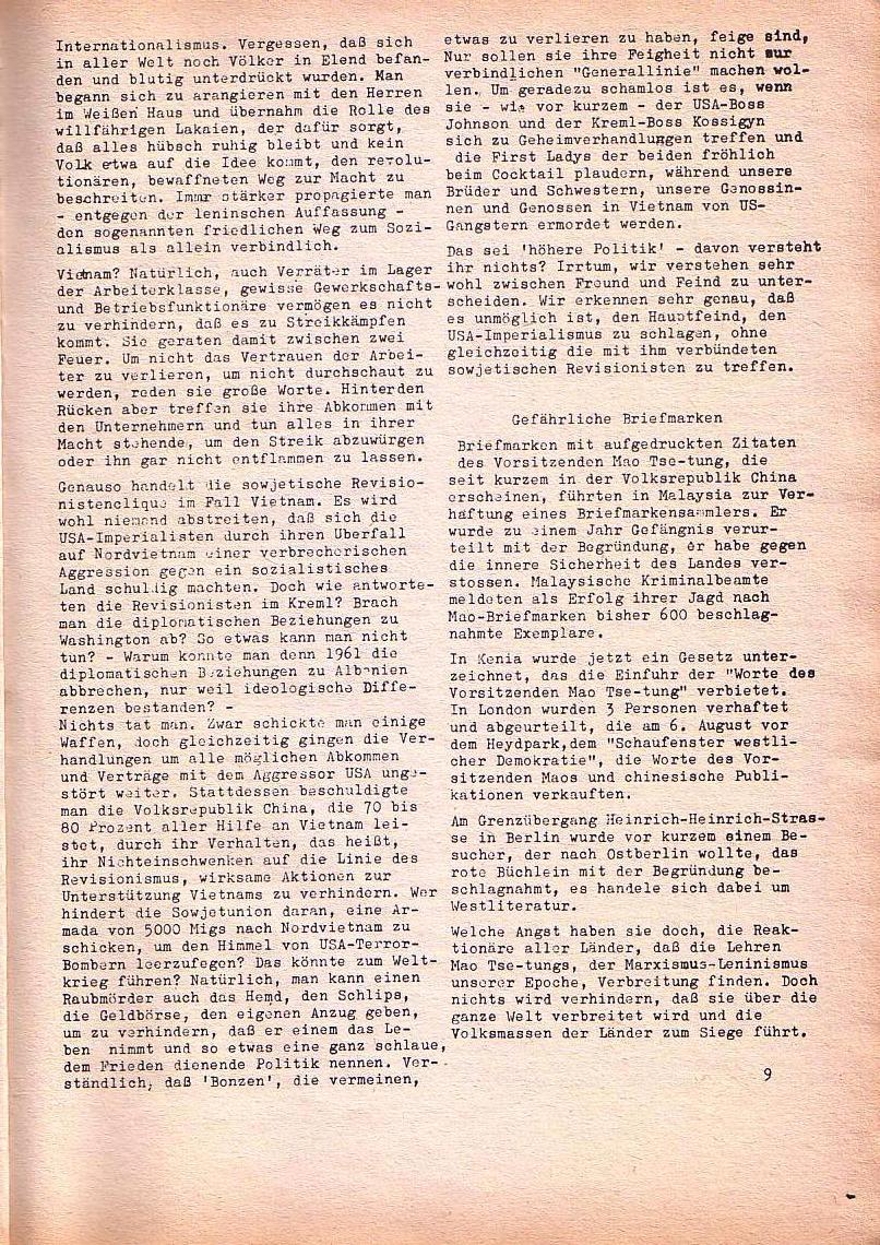 Roter Morgen, 1. Jg., Nr. 3/4, Sept./Okt. 1967, Seite 9