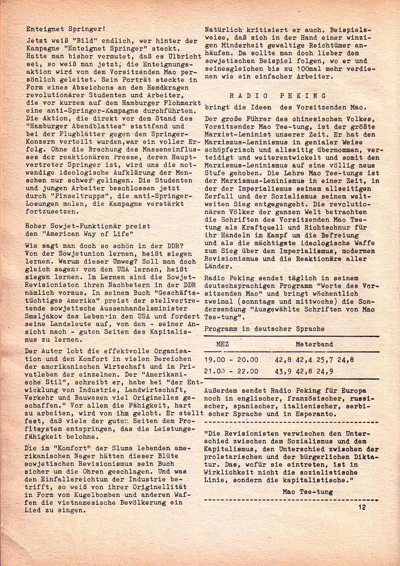Roter Morgen, 1. Jg., Nr. 3/4, Sept./Okt. 1967, Seite 12