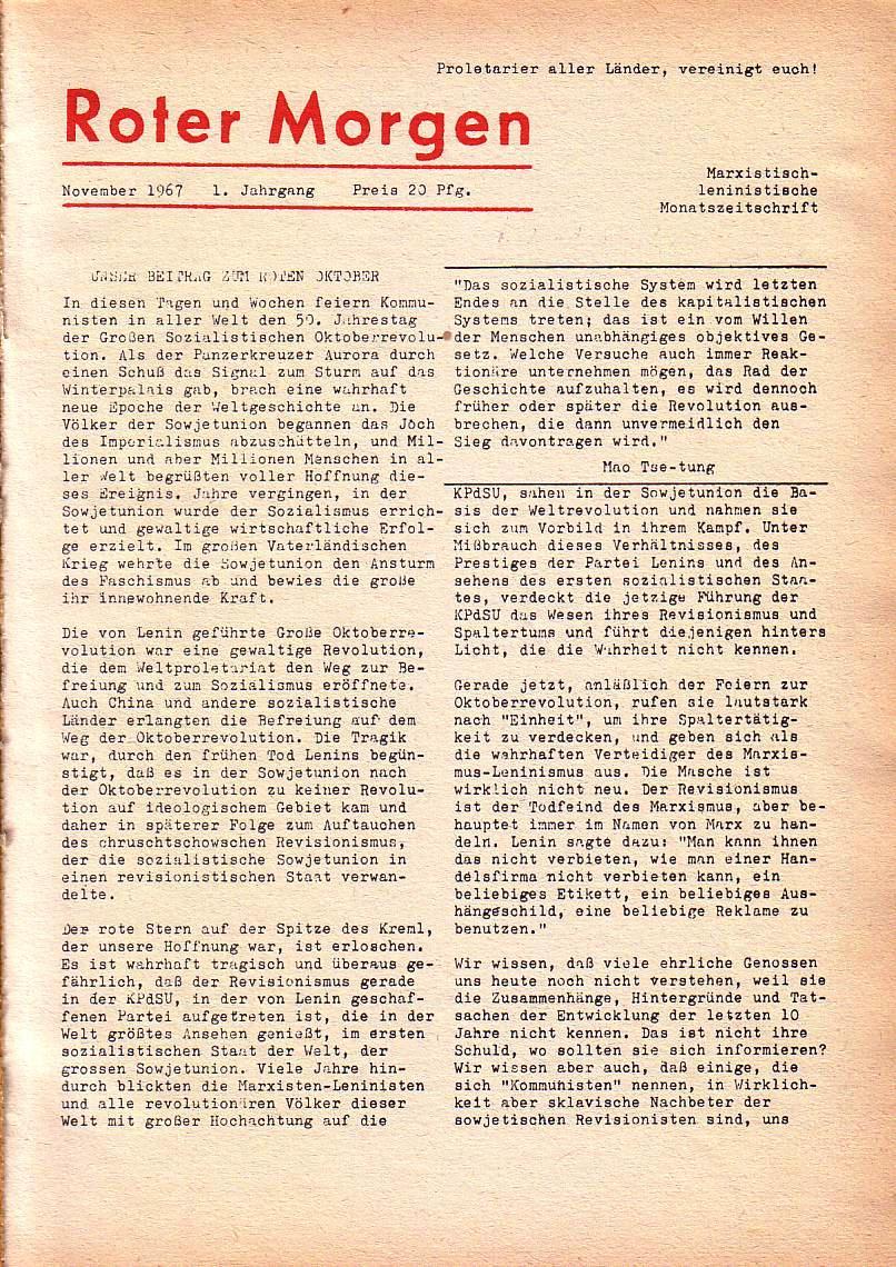 Roter Morgen, 1. Jg., Nov. 1967, Seite 1