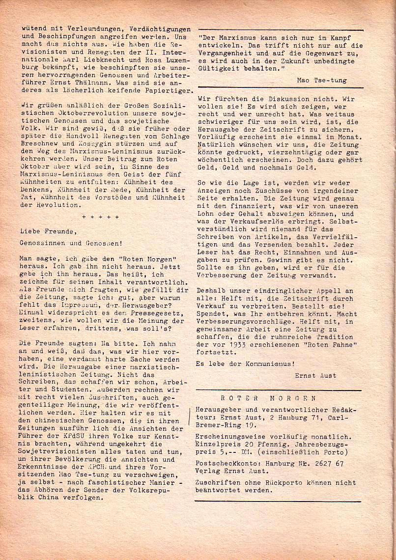 Roter Morgen, 1. Jg., Nov. 1967, Seite 2
